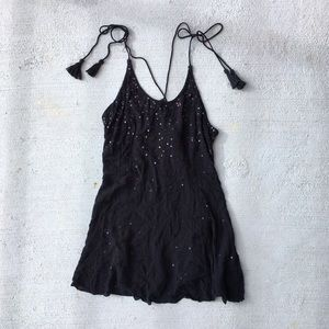Free People Just Watch Me Sequin Tassel Slip Dress